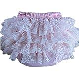 BuyHere–bebé niña de algodón encaje calzoncillos volantes, Rosa, tamaño XL.