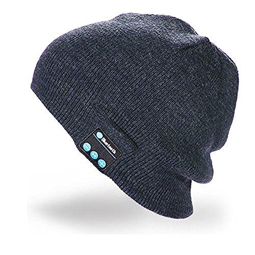 Cappello Bluetooth Bluetooth Music Hat Inverno Berretto lavorato a maglia Berretto per corsa Sport all'aria aperta Sci campeggio Escursionismo Giorno del Ringraziamento Regali di Natale(Grigio scuro)