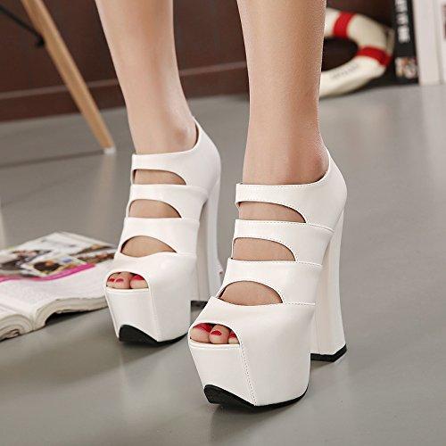 bocca sandali Thirty e pesce solo sexy di con GTVERNH piattaforma svuotata lestate primavera spessore tacchi four di scarpe 37 tallone white a spessa scarpe 8 la scarpe inferiore 5cm wxw74Rqp