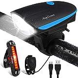 TopCrazy Fahrradlicht,Horn LED Fahrradbeleuchtung Set,USB Wiederaufladbare Superhelle Wasserdichter Horn Frontlichter und Rücklicht,Kombination Für Nachtfahrer,Radfahren und Camping