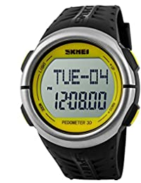 Skmei hombres Heart Rate Monitor Reloj Podómetro contador de calorías Running Cronógrafo Digital impermeable watch-yellow