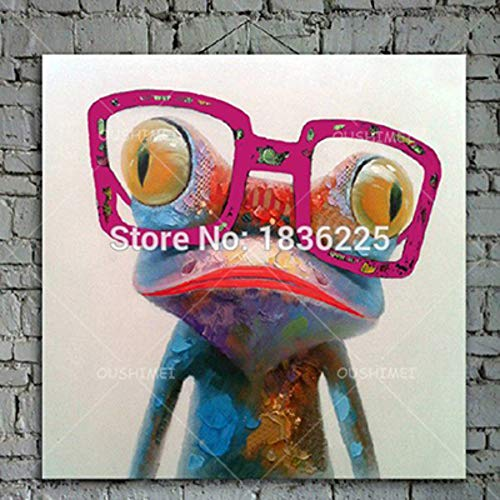 Ölgemälde Auf Leinwand Handgemalt,Abstrakte Tiermalerei,Pink Lips Frog Rose Red Sonnenbrille,Große Moderne Europäische Kunstwanddekoration Für Den Eingang Wohnzimmer Schlafzimmer Erwachsene Gesch