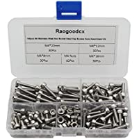 raogoodcx® 180pcs M4acero inoxidable Hex Socket Head Cap Tornillos Tuercas Surtido Kit (M4acero tomas)