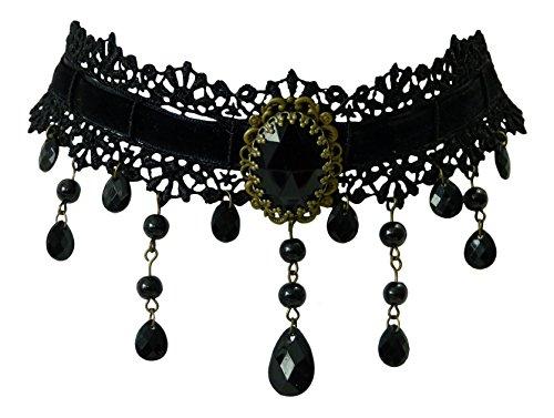 Trachtenschmuck Dirndl Kropfband Collier - Spitze schwarz - Samtband durchzogen - Perlen und Zierkettchen