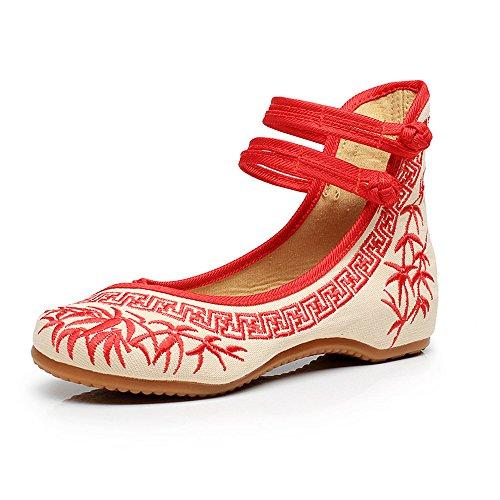 Bambus Stickerei Frauen Schuhe Chinesischen Casual Wohnungen Weiche Sohle Mary Janes Schuhe (Rot,37 EU)