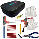 amiciAuto Tubeless Tyre Puncture Repair Complete Kit for Car and Bike (Complete Tyre Repair Kit with Easy Storage Nylon Bag)
