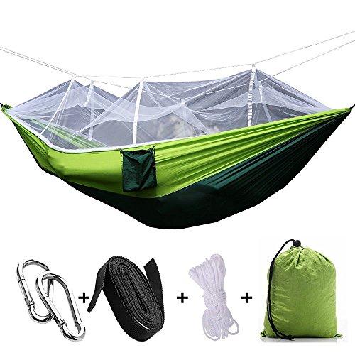 Vilisun amaca portatile da campeggio con zanzariera in nylon robusto tessuto paracadute ultra leggera camping hammock corde e moschettoni inclusi ideale per viaggio giardino escursioni cortile