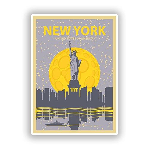 Preisvergleich Produktbild 2 x New York Vinyl Aufkleber Reise Gepäck 10267 - 10cm / 102mm Wide
