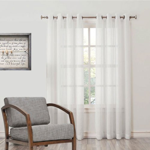 Desirica Premium Quality Sheer White Curtain - Set of 2 (7 feet)