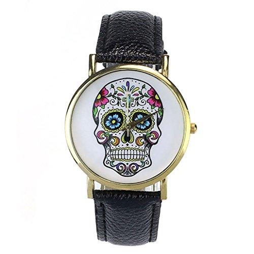 Vovotrade mujeres hombres rock punk cráneo analógico reloj de cuero banda cuarzo reloj de pulsera (c)