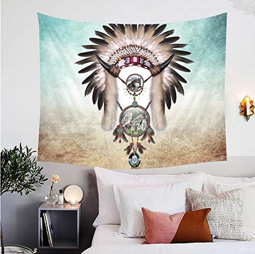 RDTFGYV Wolf Traumfänger Wandteppichee Grau Teal Dekorative Wandbehang Für Wohnzimmer Schlafzimmer 3D Drucken Wölfe Tribal Bettwäsche 150X200Cm - Teal Grau-wand-kunst