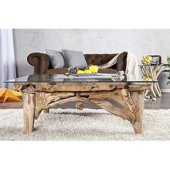 Dunord Design Couchtisch Glas Holz Glastisch Treibholz Tisch Teak