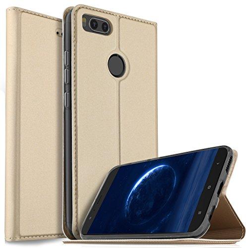 iBetter Funda Xiaomi MI A1 5.5 Funda, Multi-ángulo Slim Protectora PU Funda para iBetter Funda Xiaomi MI A1 5.5 Smartphone.(Oro)