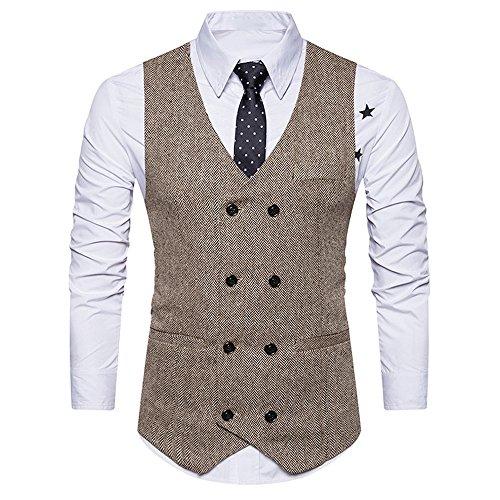KEERADS Herren Weste V-Ausschnit Vintage Kurzweste Slim fit Sweatweste Anzugweste Basic Mode Businessweste Anzug (XL, Beige)