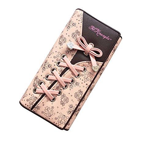 Damen Elegant Süß Leder Geldbörse Damen Blumen Schnürsenkel Schuhband Portemonnaie Geldbeutel (Rose)