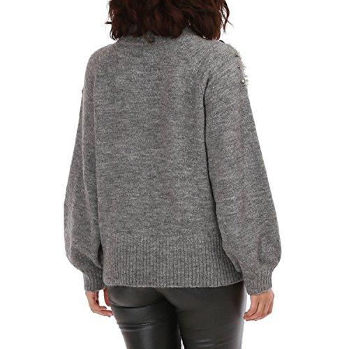 La Modeuse - Pull ample manches longues femme GRIS FONCE