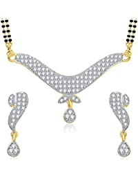 Meenaz Mangalsutra Pendant Set With Earrings For Women Girls Jewellery Set Gold Plated In Cz American Diamond... - B010XSVH1E