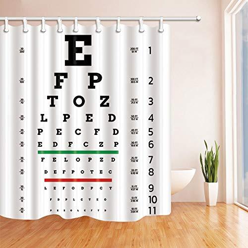 EdCott Sehtafel Dekor Vision Test Board Optometriker Duschvorhänge für Badezimmer Polyester Stoff Wasserdicht Bad Vorhang Duschvorhang Haken Enthalten 71X71in (Vision Board Stoff)