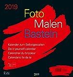 Foto-Malen-Basteln Bastelkalender schwarz groß 2019: Fotokalender zum Selbstgestalten. Do-it-yourself Kalender mit festem Fotokarton. Format: 45,5 x 48 cm