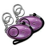 Xinyinuo 2 Pack Purple con recubrimiento UV mini fuerte ataque de pánico de violación de seguridad del personal de Seguridad antorcha llavero llavero