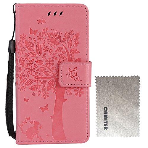 iPhone 4 Hülle, Camiter Braun Baum Katze Design [Premium Leder Serie] Schutzhülle PU Leder Flip Tasche mit Integrierten Kartensteckplätzen und Ständer für Apple iPhone 4 /4S + Freies Reinigungstuch Rosa