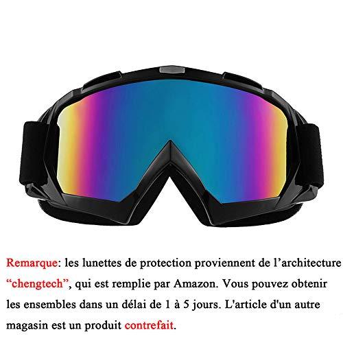 Sijueam Lunettes de Protection de Yeux Visage Masque pour sport de plein air Anti-UV coupe-vent Anti-sable Anti-poussière pour Activités Extérieures vélo Moto Cross VTT Ski Snowboard Cyclisme Goggles - Cadre Noir, lentille de couleur