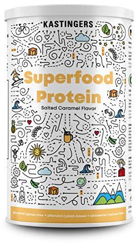 Superfood Protein | SALTED CARAMEL | veganes Proteinpulver plus Superfood-Mix aus Maca, Chia, Kurkuma | Hoher Proteinanteil & beste Bioverfügbarkeit | HERGESTELLT IN DEUTSCHLAND | 450 g | Monatsvorrat