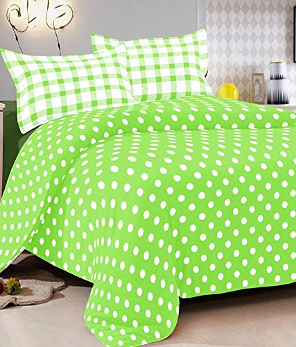 R R Textile House Vintana Presents 100% Cotton Green With White Circles1 Bedsheet With 2 Pillow Cover