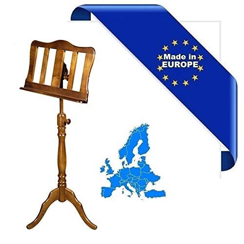 Notenständer Barock Made in Europe Alles Esche Stange und Verschlüsse Holz Finish Walnuss Verstellbare Höhe und Neigungswinkel