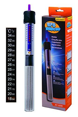 BPS (R) Calentador Sumergible para Pecera 50W - 22.3cm con Un Termómetro Digital Adhesivo BPS-6051