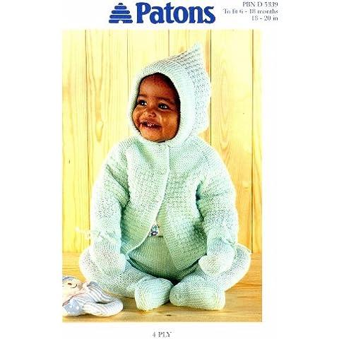 Baby lavoro a maglia con cappuccio, taglia s, Giacca-Leggings Patons a maglia per passeggino 5339