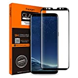 Spigen Protecteur d'écran Samsung Galaxy S8 Plus [Full Cover BLACK] Verre Trempé Samsung Galaxy S8 Plus, **Easy-Install Kit** [Anti-Trace de Doigts] *Ultra Clair* Protection écran Galaxy S8 Plus, Film Protection Galaxy S8 Plus (571GL21780)