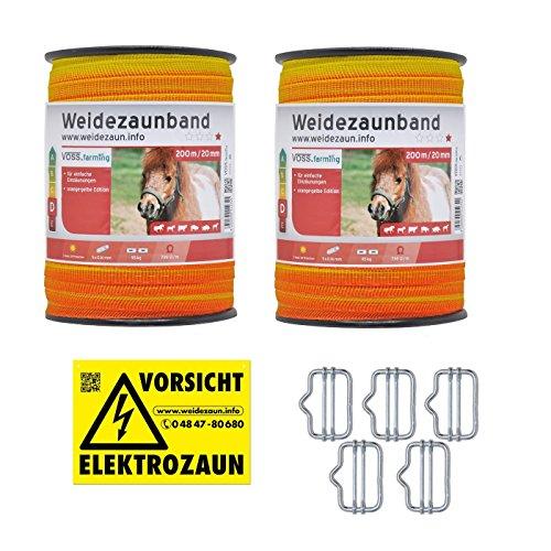 VOSS.farming Weidezaunband - Länge wählbar - 20mm Gelb Oranges Elektrozaunband 5X 0,16 Niroleiter - mit Zubehör! - Elektroband Weidezaun Elektrozaun Ponyzaun Pferdezaun