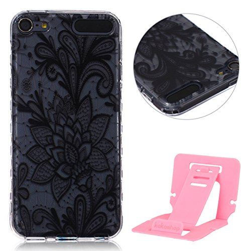 iPod Touch 5G/5th gen Hülle, iPod Touch 6G Silikon Gel Schutzhülle, Ekakashop iPod Touch 5/Touch 6 (5 / 6 Generation) Weiche TPU Ultradünn Slim-Fit Smartphone Handyhüllen Tasche Back Cover Bumper, Transparent Crystal Clear Case Schale Etui Durchsichtig mit Niedliche Cartoon Tiere Malerei Weiß Blumen Flowers Henna Muster für Apple ipod Touch 5/6 - Schwarze Rose + 1x Kostenlos Ständer (Farbe zufällig) (Ipod 5 Fällen Cartoon Tiere)