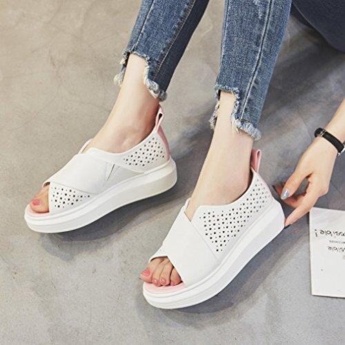 Damen Sandalen Peep-Toe Slip on Plateau Aushöhlen Atmungsaktiv Flach Weich Bequem Leicht Strapazierfähig Freizeit Modisch Schuhe Weiß