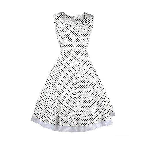Meijunter Frauen 1950 Klassische Hepburn Art-Weinlese -Sleeveless  Partei-Retro Swing-Kleid