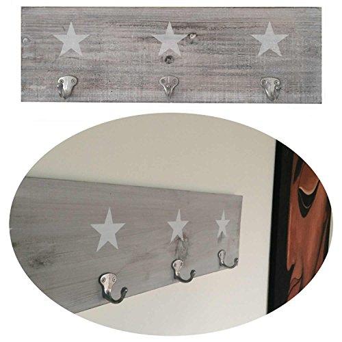 LS-LebenStil Holz Wand-Garderobe 3 Haken Stern Shabby Grau Weiss 48,5x16x1,5cm Design Hakenleiste