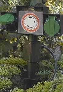 PRISE DOUBLE JARDIN ETANCHE AVEC PROGRAMMATEUR ELECTRIQUE EXTERIEUR
