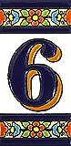 Letreros con numeros y letras en azulejo de ceramica policromada, pintados a mano en técnica cuerda seca para placas con nombres, direcciones y señaléctica. Texto personalizable. Diseño FLORES MEDIANO 10,9 cm x 5,4 cm. (NUMERO SEIS '6')