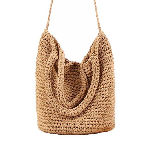 oyfel Borsa a tracolla mano in paglia Rattan legno Boheme bambù Cestino spiaggia Tricote da donna ragazza bambino marrone 35*32*80cm