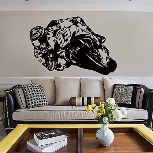 Vinilo Etiqueta de Arte de La Pared Motocicleta Moto Racer Calcomanías de Bicicleta de Motor para la Sala de estar Habitación para niños Decoración para el hogar 120 cm x 80 cm