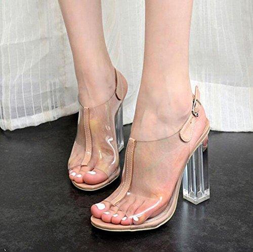 GLTER Cinturino Donne Pumps gelatina calza sandali Charming Toe Exposed cristallo Tacchi alti Trasparente strati con i pattini femminili dei pattini di punta di pigolio Scarpette apricot