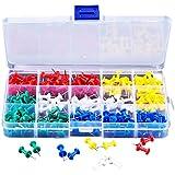 eBoot 200 Piezas Multicolores Push Pins Chinchetas de Cabeza para Mapa y Corcho Cartelera
