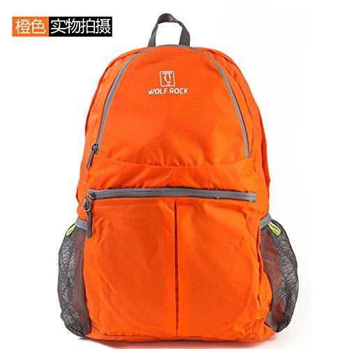TBB-Doppio zaino borse tracolla pieghevole e impermeabile esterno portatile pacchetto di viaggio,grigio 25L orange 25L