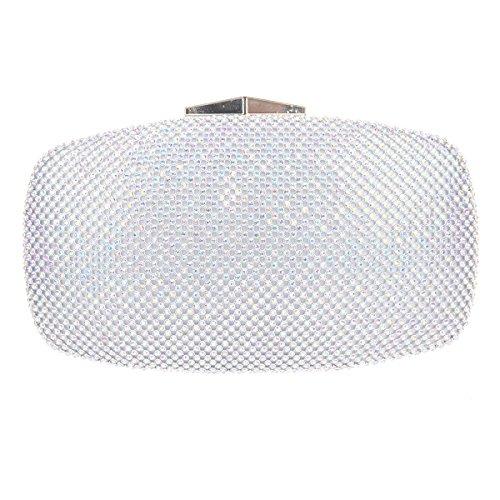 Bonjanvye Studded Rhinestone Evening Clutch Bag with Handle for Women AB Silver AB Silver