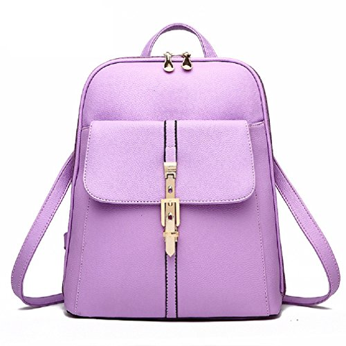OUMIZHI Vintage Schulter Rucksack PU Leder für Schule Etwas Reise Backpack Damen Lila