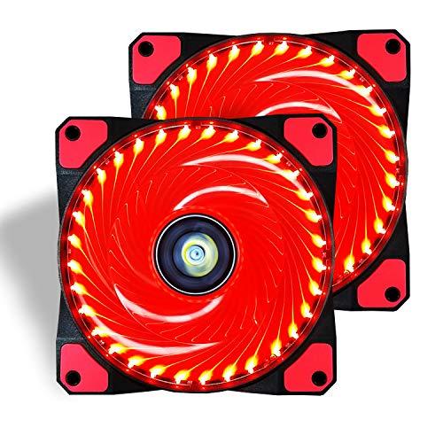 conisy PC Lüfter, 120 mm LED Ultra Leise Gehäuselüfter für Computer Fällen Kühlerlüfter - Rot (2pack)