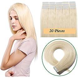 "18""(45cm) Extensiones de Cabello Natural Adhesivas Liso 100% Remy Cabello Humano Largo Tape in Hair Extensions 20 Unidades (50g,#60 Rubio Platino)"
