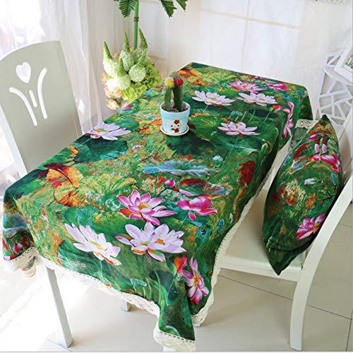 Baumwolle Und Leinen Waschbar Ethnischen Stil Gedruckt Tischdecke Tinte Grün Lotus Frische Hauptdekoration Tuch Kaffeetischdecke