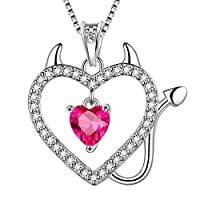Aurora Tears Devil Horns Devilish Tail Cats Necklace Women 925 Sterling Silver Devil Heart Valentines Day Theme Pendant July Birthstone Evil Heart Jewelry Girls Crystal Gift DP0184R